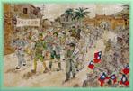 衣衫襤褸,軍紀渙散的國府軍隊,受到台灣民眾熱情的夾道歡迎。