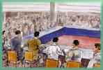 「二二八事件處理委員會  」在中山堂開會的情形。  繪圖/圖片提供:邱若龍